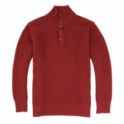 Pull Col Montant Boutonné Bordeaux Out Of Ireland