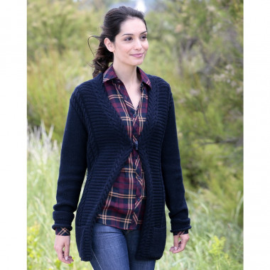 Out Of Ireland Long Navy 1 Button Cardigan