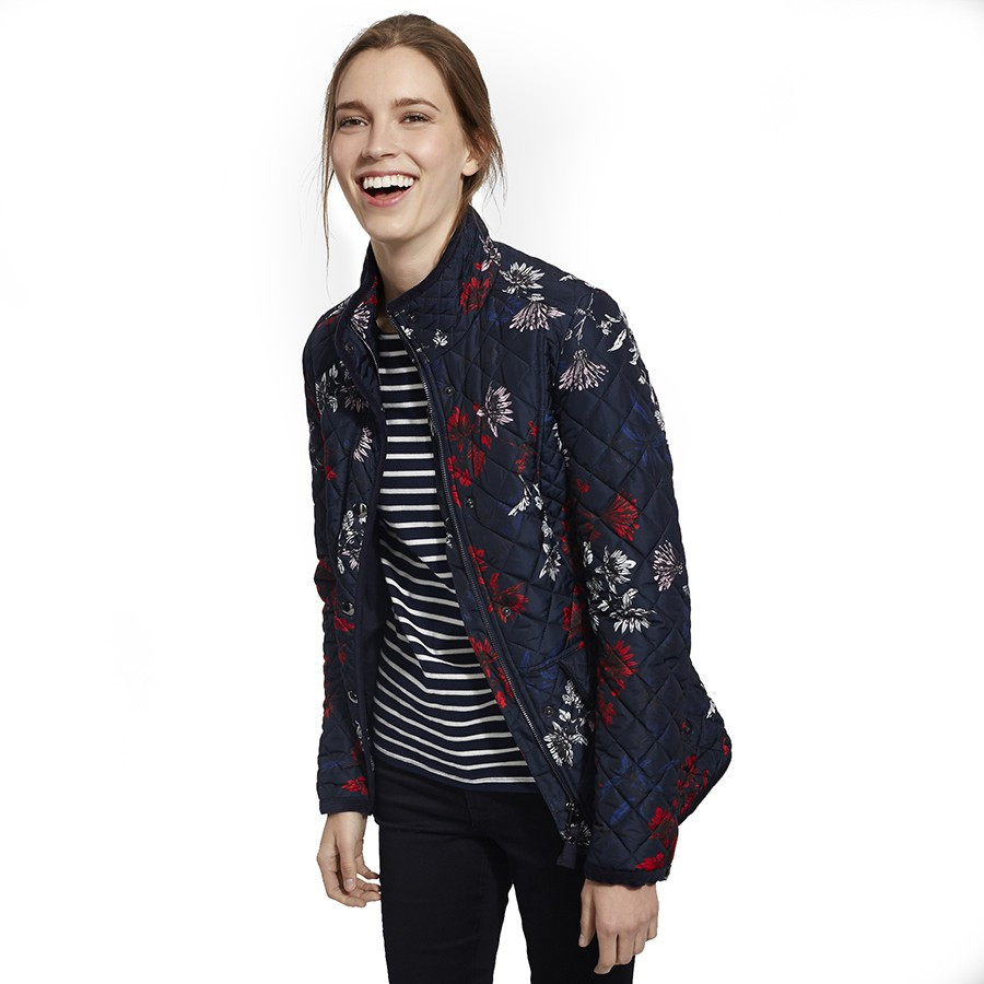 Tom Joule Navy Flowers Quilted Jacket
