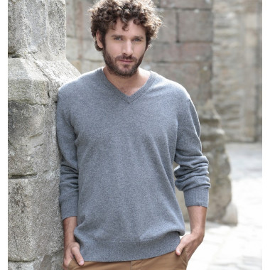 Best Yarn Lambswool V-neck Light Grey Jumper